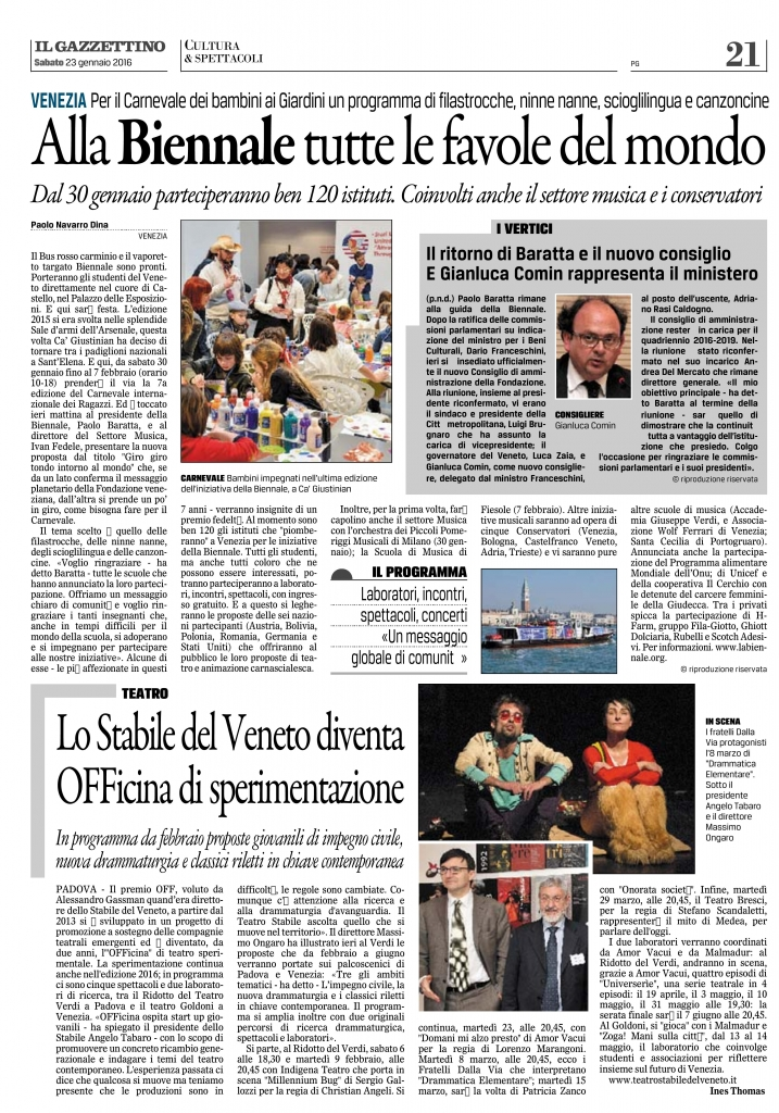 Gazzettino - Biennale 2016