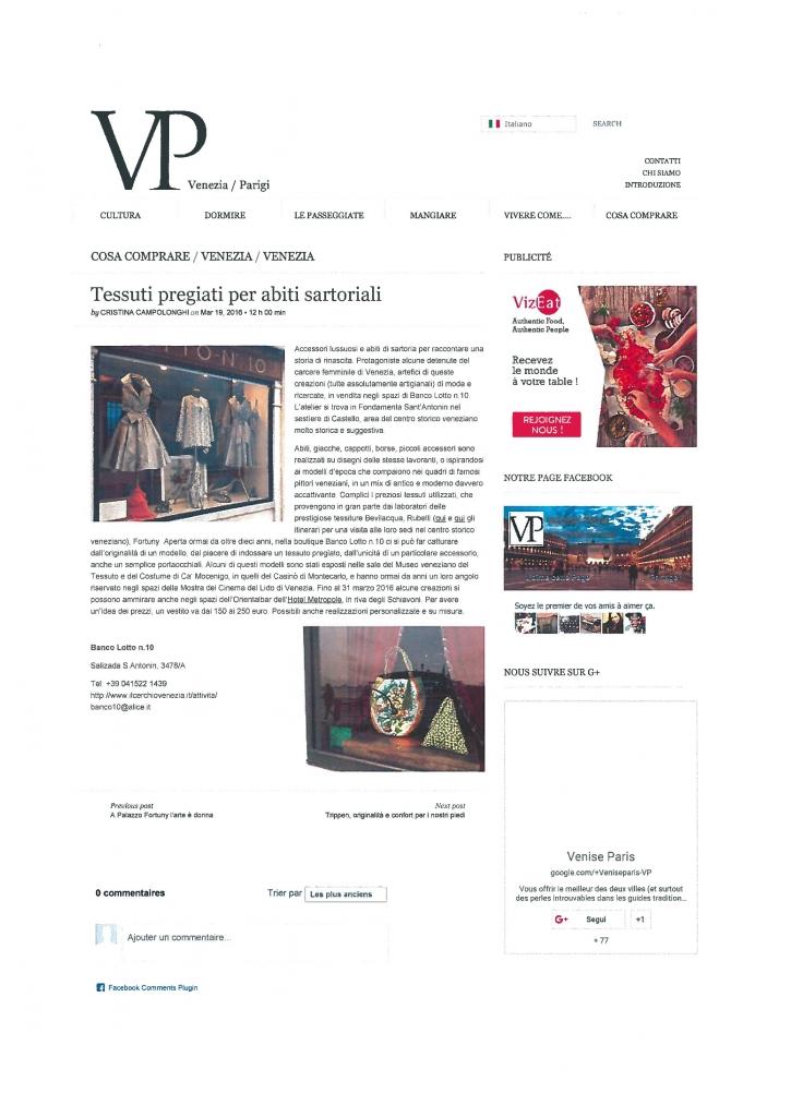 Articolo su Vp del 19.03.16
