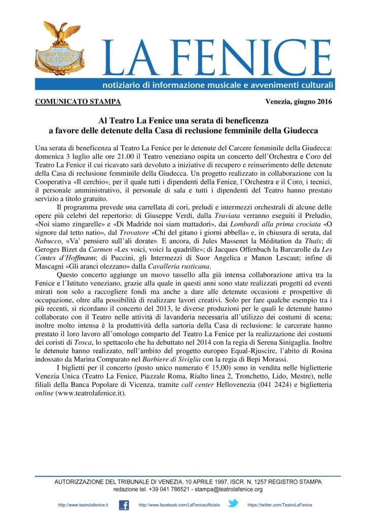 Comunicato stampa - Teatro La Fenice 03lug16