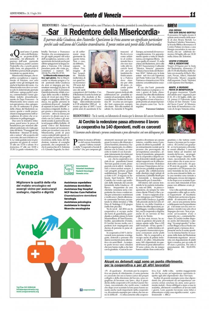 Articolo Gente Veneta - 15 luglio 2016